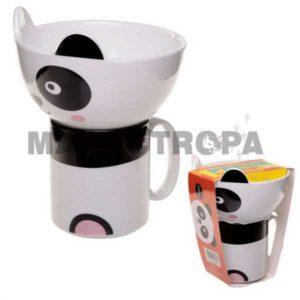 Set de Taza y Bol en Forma de Oso Panda