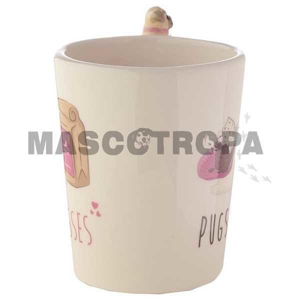 Taza cerámica Pug con Pug y Cookies en el asaTaza cerámica Pug con Pug y Cookies en el asa