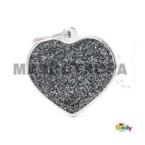 Chapa Identificativa Corazón Negro con Purpurina